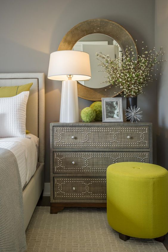 Chartreuse Color ottoman
