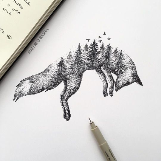 92. Elements of Nature Depicted Through Sketch of a Lying Fox