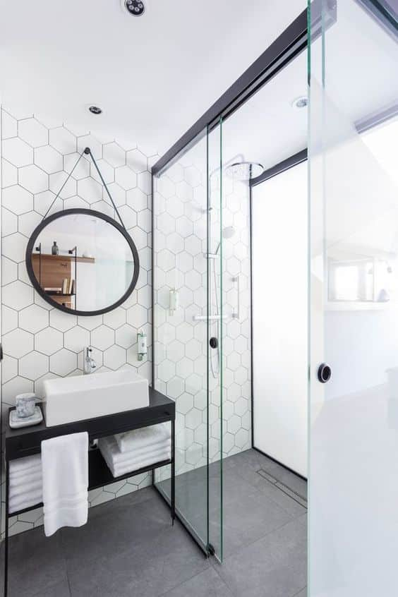 Honey Comb Tile Walk-In Shower