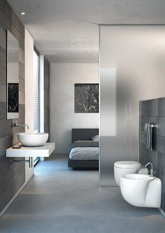 Modern Style Grey Transparent Bathroom Design