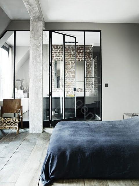 Bedroom with a Transparent Bathroom