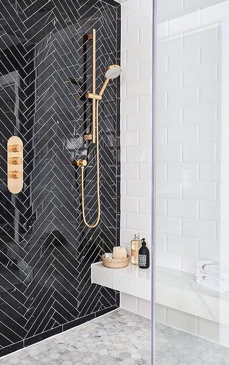 White Walk-In Shower with Accented Subway Tiles