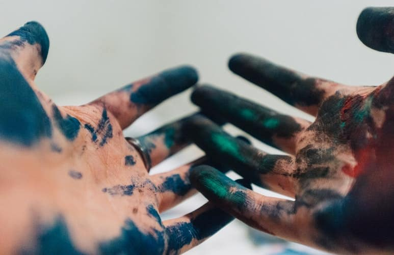 Watercolor stained hands
