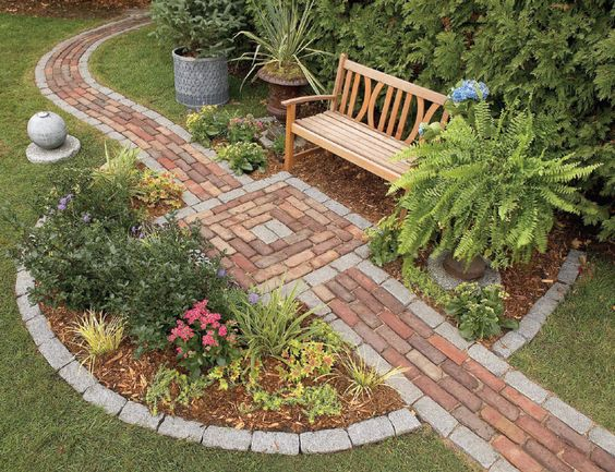 Staggered look brick patio