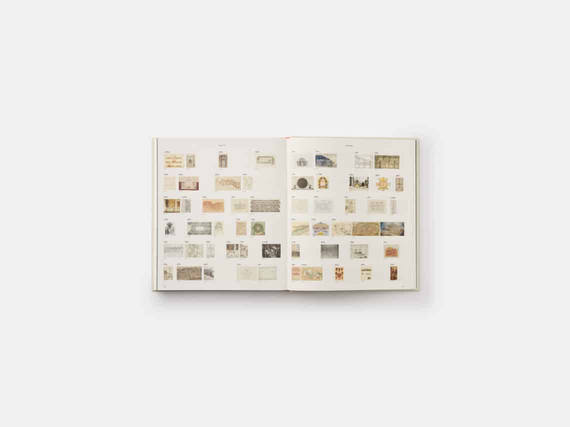 Drawing Architecture, Helen Thomas, Phaidon, open at pages 300-301, showing 2nd and 3rd pages of the timeline (c.1550-1866)