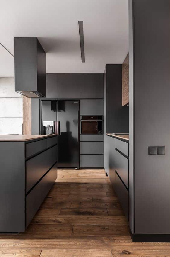 Sharp box cabinets in lush grays