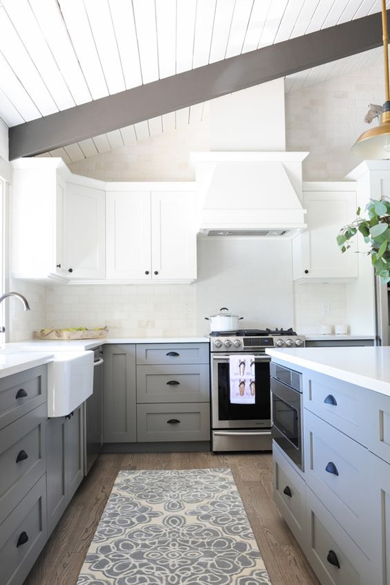 Rounded or soft-edged white kitchen space