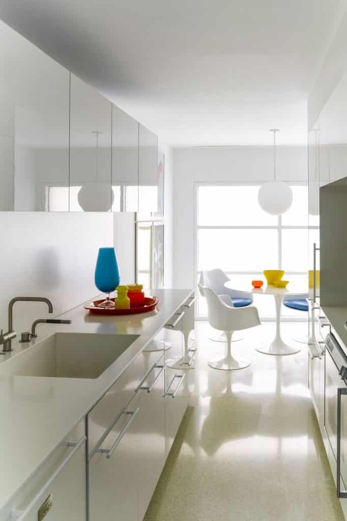12 glossy white cabinets