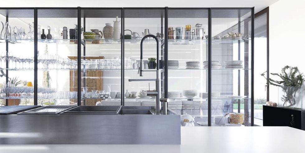 16 minimal glass fronted cabinets