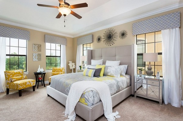 Stylish use of gray in a light shade in the bedroom