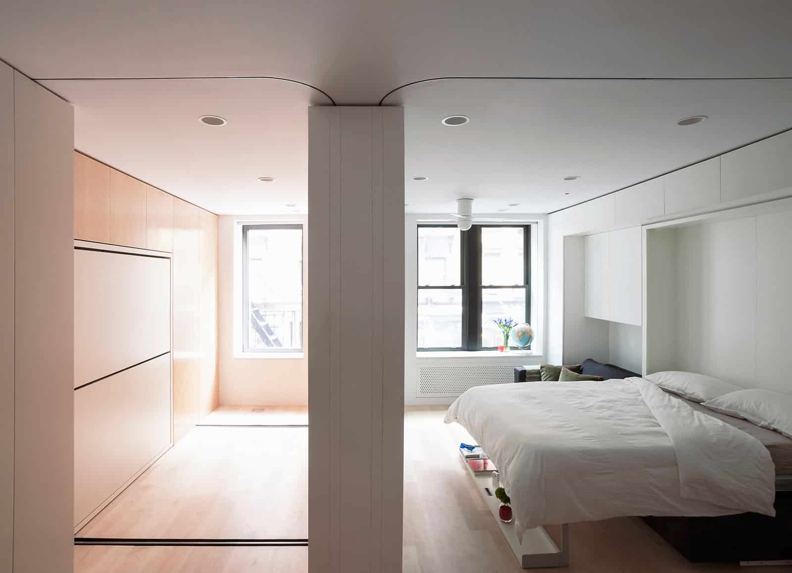 The moving wall opens up a second room which features bike storage a second office space and can be converted to the guest bedroom1