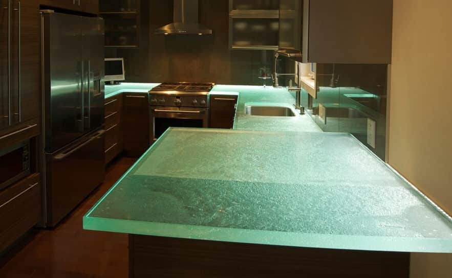 Crushed glass bathroom counter