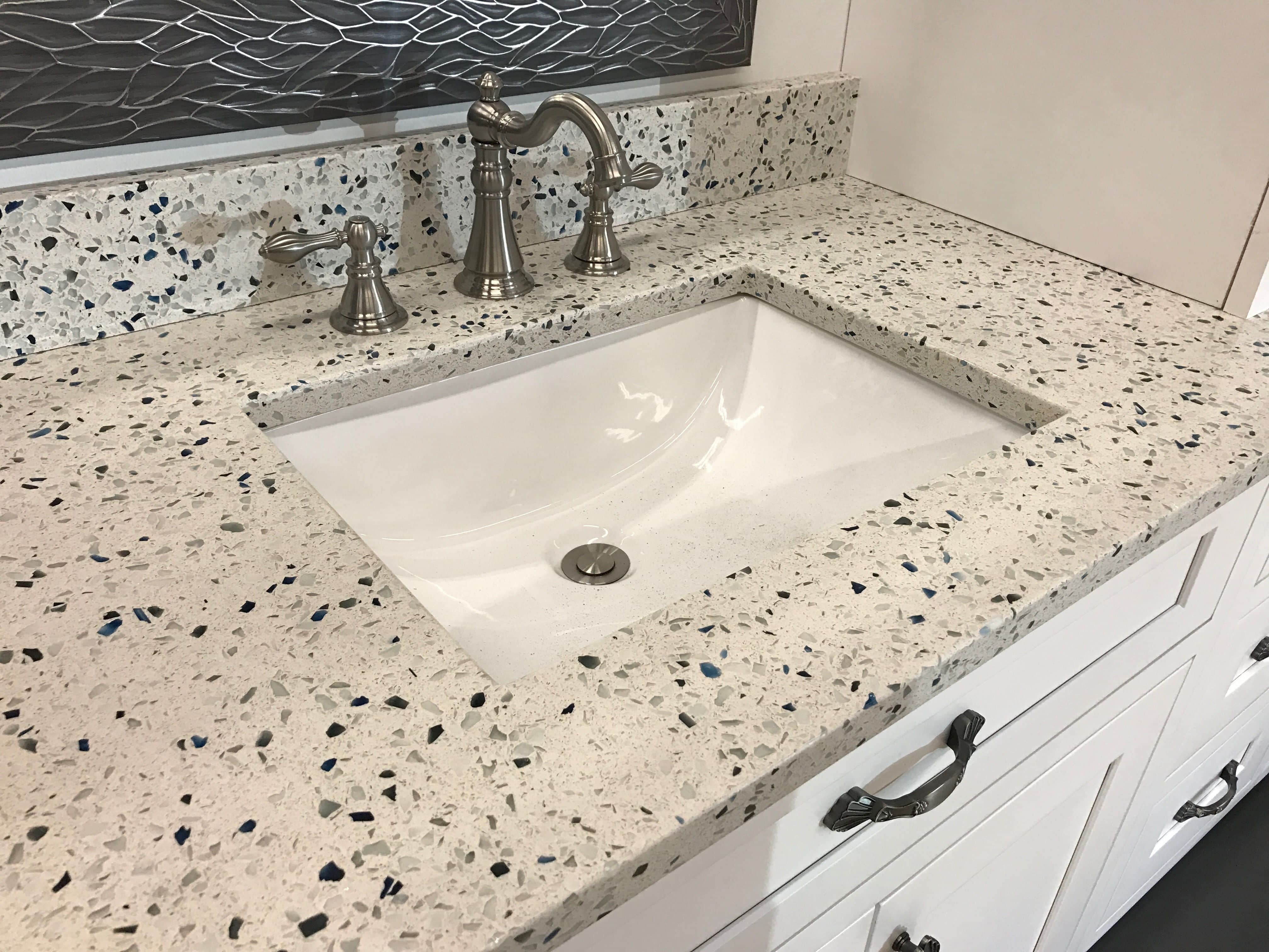 Recycled and composite bathroom counter
