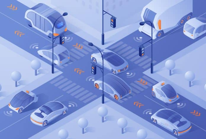 Smart Cars Driving in City Traffic on Crossroad
