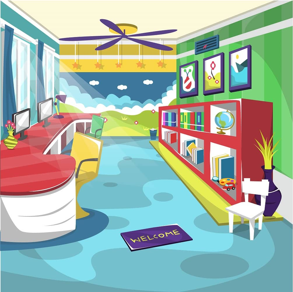 Clean Kids Library School Room with Ceiling Fan, wall painting, globe, books in the cupboard for Cartoon Vector Illustration Interiorq