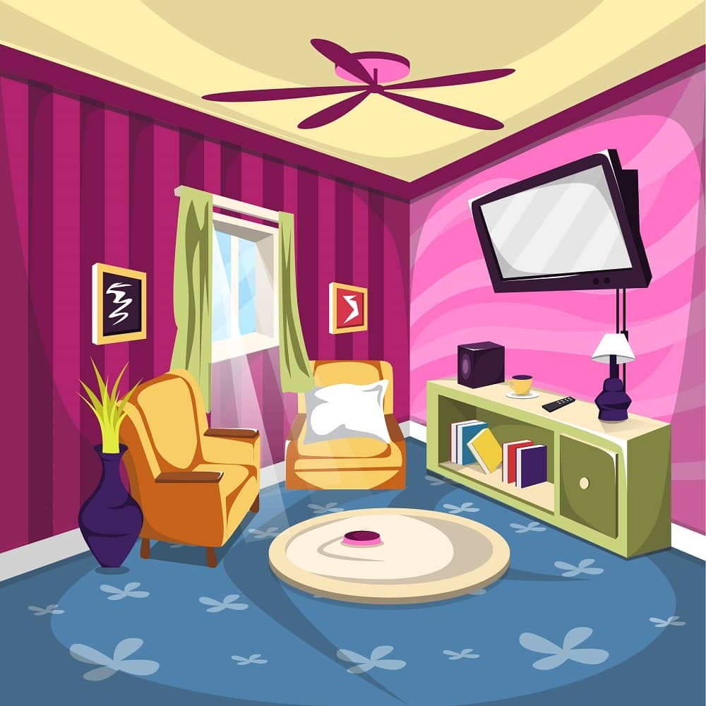 Clean Living room or TV Rooms Furniture with Sofa, Ceiling fan and desk full of book Cartoon Vector Architecture Decoration Ilustration Concept Idea