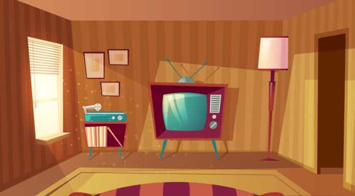 Vector illustration of cartoon living room. Front view from sofa to TV set, vinyl player. Light from window on furniture, carpet. Domestic interior background