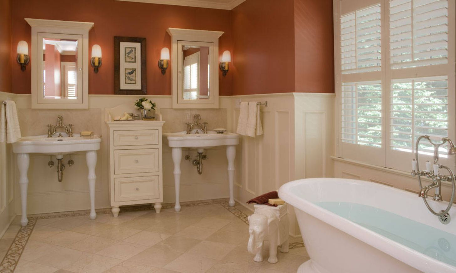Red bathroom paint walls with wainscoting bathroom wall