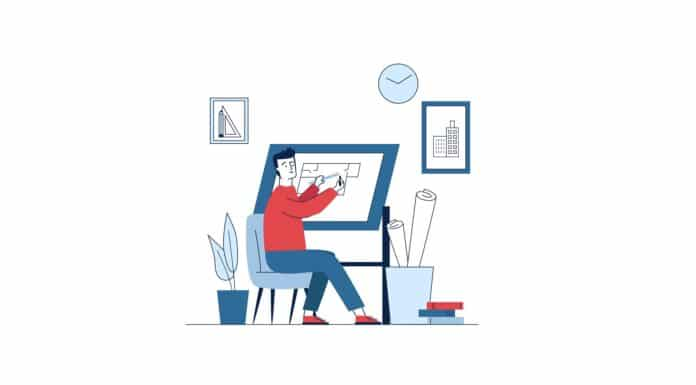 Architect working on plan at drawing board. Sitting man measuring length with ruler flat vector illustration. Architecture, planning, drafting concept for banner, website design or landing web page