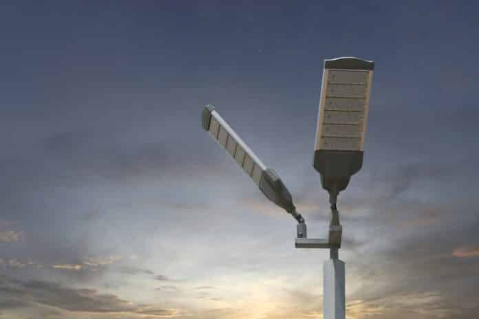 Energy saving of Solar LED light pole on sky background and have copy space.