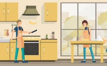 Family cooking lunch flat vector illustration. Happy parents and little kid in kitchen cartoon characters. Father making delicious pancakes, mother and daughter kneading dough together