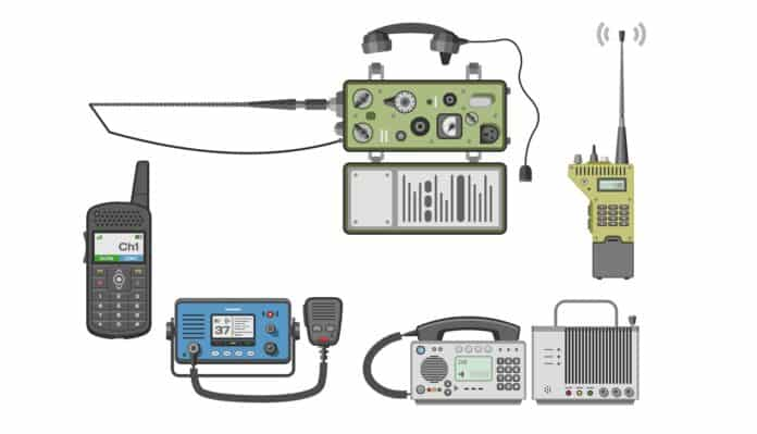 Walki-talkie vector radio portable transmitter wireless mobile communication device technology walkie talkie illustration set of transceiver equipment isolated on white background.