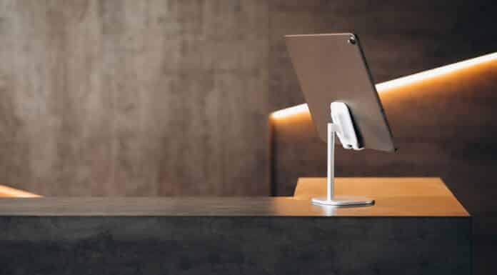 Tablet standing isolated on table