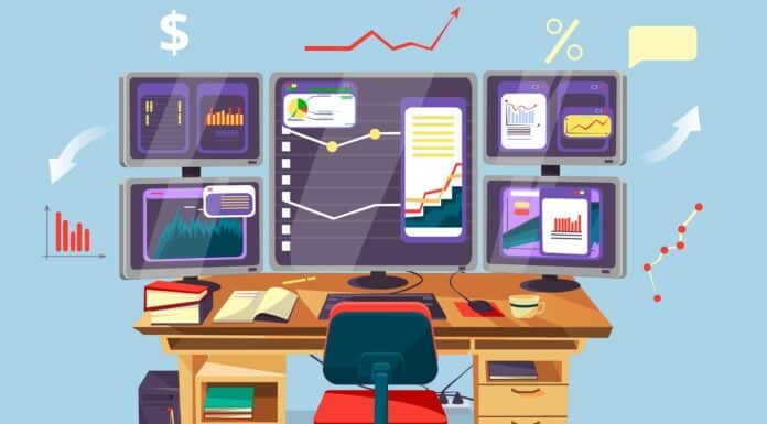 Vector cartoon trader, financial, data analyst office workplace background template. Graphs diagram chart at desktop monitor screens. Business man, stock currency exchange rate market research concept