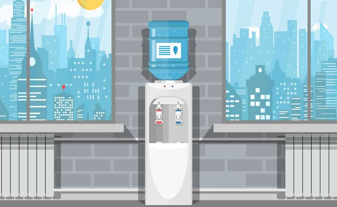 Gray white plastic water cooler with blue bottle. Office building interior. Windows with cityscape. Vector illustration in flat design