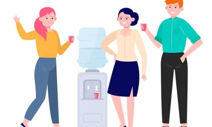 Office cooler meeting flat vector illustration. Cartoon young colleagues drinking water near dispenser and talking. Workplace and coffee break concept