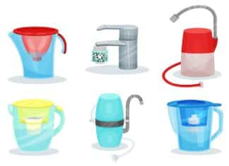 Set of different water filters. Metal kitchen faucets with purifiers. Glass jugs with filter cartridges. Modern filtration devices. Flat vector elements for promo poster or banner of household store.
