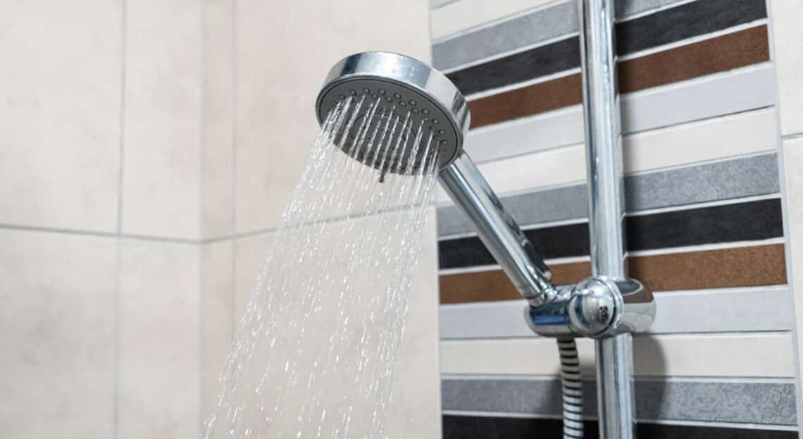 Shower head. Shower room. Plumbing close up.
