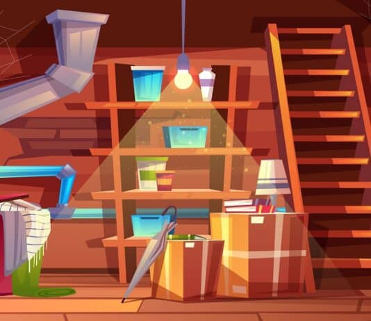 Vector cellar interior, storage of clothing inside the basement in cartoon style. Storeroom with shelves, furniture, pipeline. Illuminated by light of lamp bulb. Architecture background of storehouse
