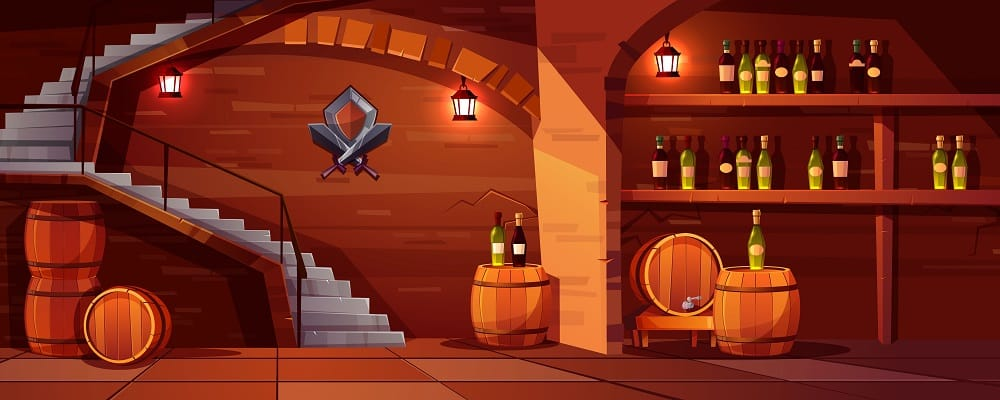 Vector wine cellar background, cozy space with wooden barrels, glass bottles. Alcohol, winemaking room with lanterns, stairs. Castle basement with shield, swords and shelves with beverage