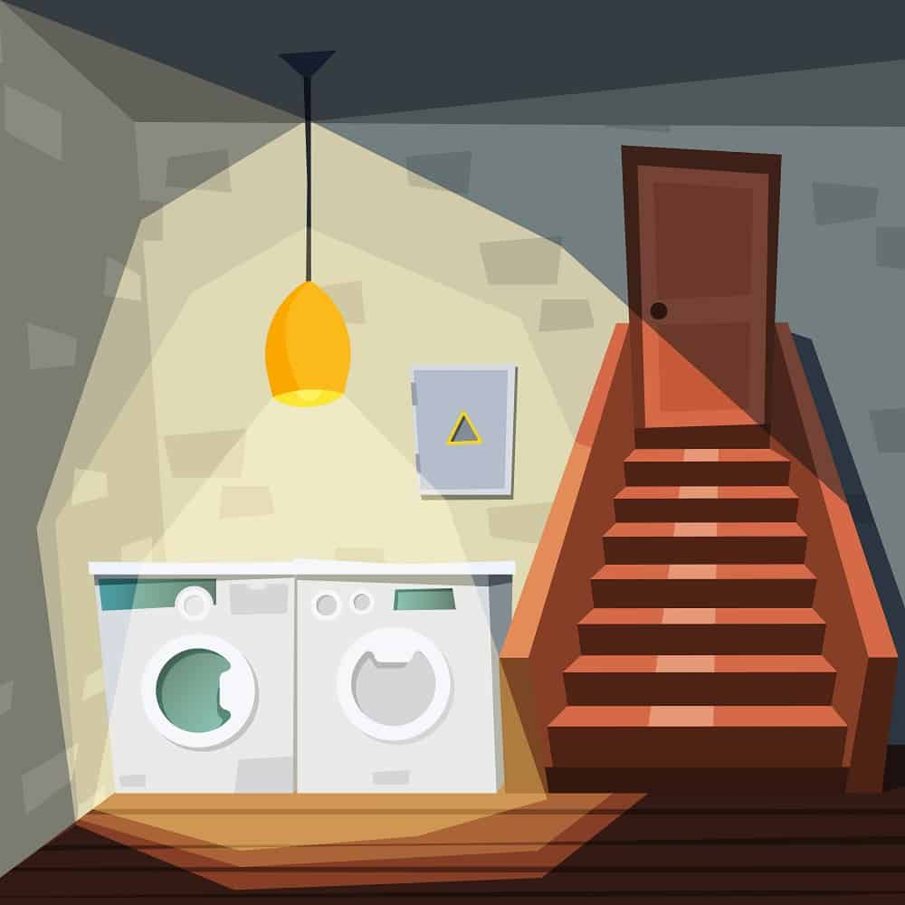 Basement. Cartoon house room with basement with washing laundry machine stairway storehouse interior vector illustration. House basement interior, laundry in home, storehouse with washing machine