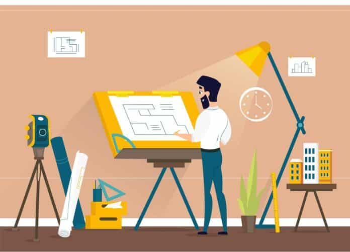 Man Architect Drawing House Project Floor Plan at Draftsman Studio with Adjustable Drawing Board Desk. Engineer Office Room Workshop. Vector Illustration of art Idea.