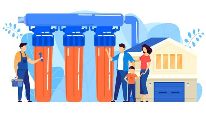 Water filter installation vector illustration. Cartoon flat tiny repairman worker character installing reverse osmosis filtration system purifier for water treatment. Repair service isolated on white