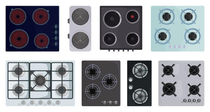 Cooktop surface vector cartoon set icon. Vector illustration electric stove on white background. Isolated cartoon set icons electric stove.