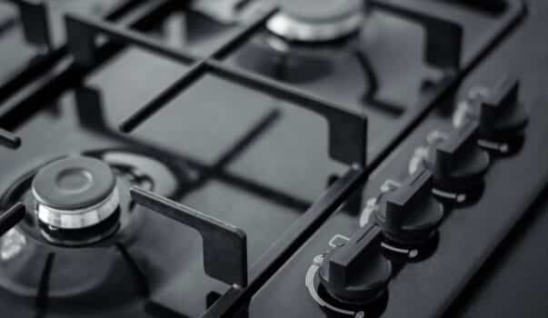 Control panel for kitchen gas hob, close-up photo