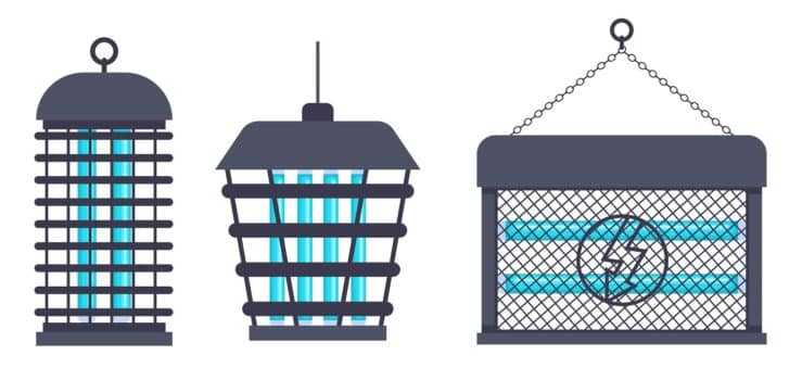 Electric bug zapper, fly swatter racket and mosquito trap vector set.