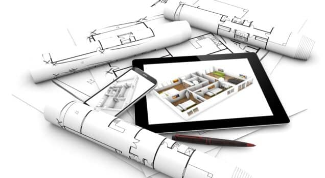 modern design concept: render of a tablet and smartphone with flat project on the screen over plots and architectural draws isolated on white background