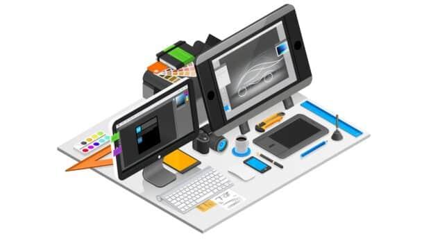 Graphic design workplace isometric concept with computer and coffee vector illustration