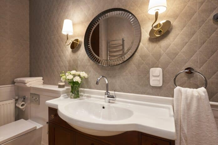 Washbasin with vintage style and white color counter, Interior a