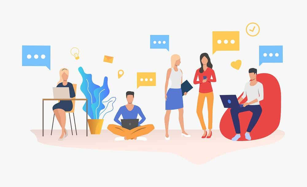 People using digital devices in modern office. Workplace, worker, technology concept. Vector illustration can be used for topics like business, communication, coworking space