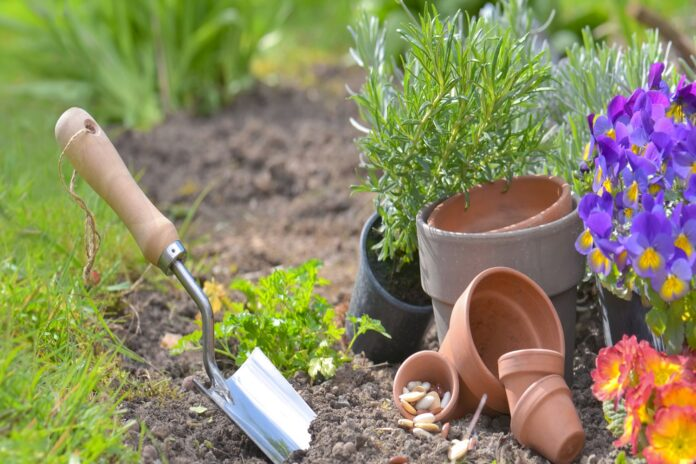 shovel planting in the soil next to teracotta pots and flowers with copy space in grass