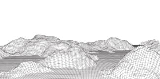 Detailed wireframe terrain landscape in black and white