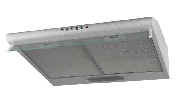 Cooker hood. The design is flat, wall mounted. Grey colour. Isolated.