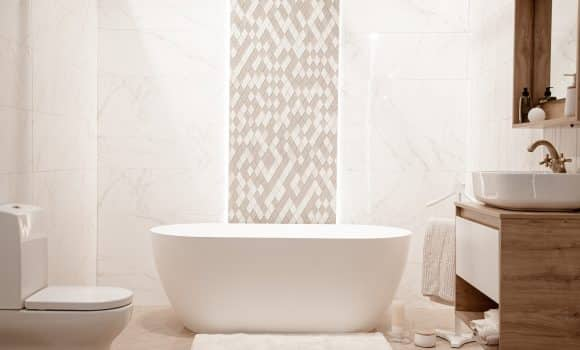 Modern bathroom interior with decorative elements. space for text.