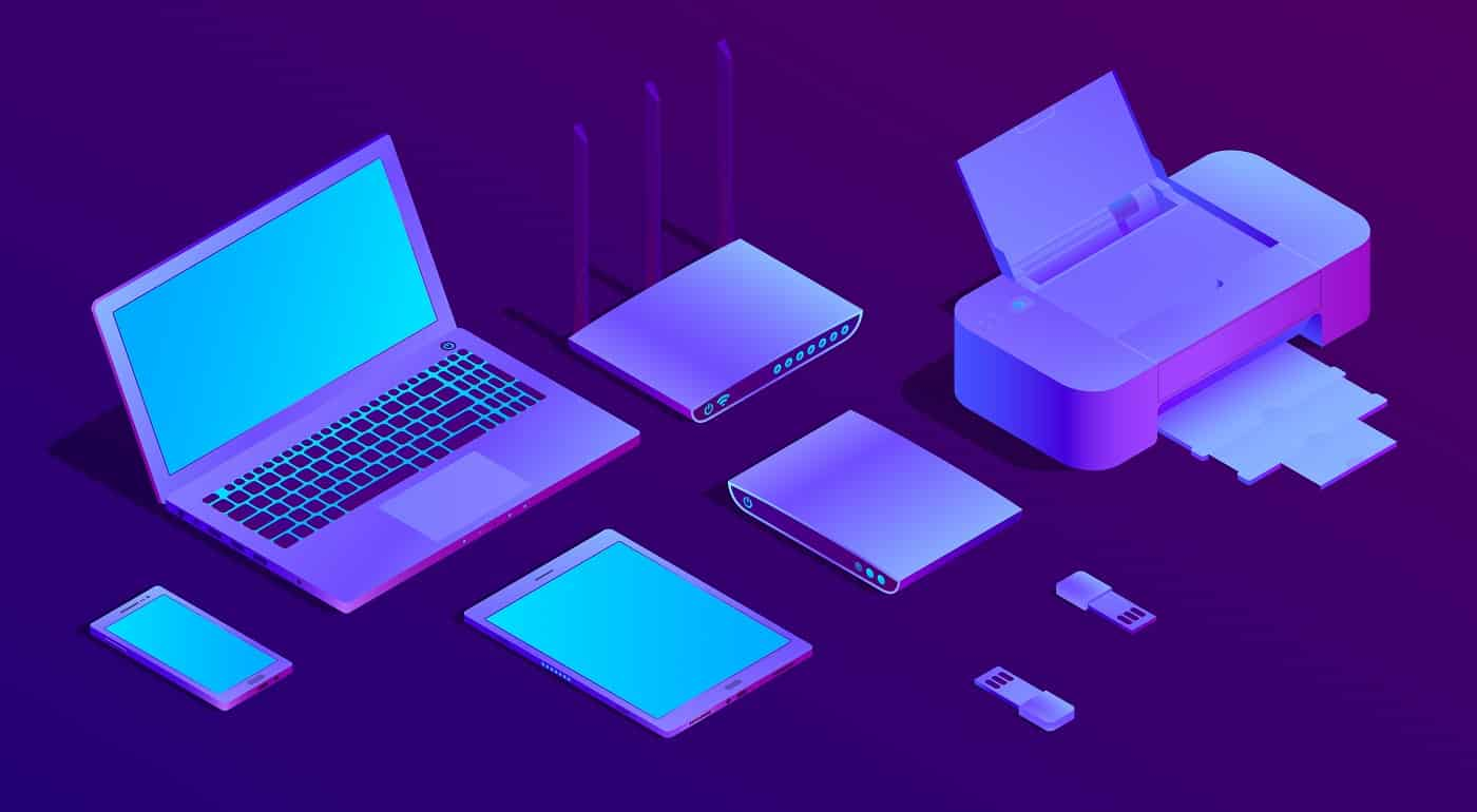 Vector 3d isometric violet laptop, router with wi-fi and office equipment. Ultraviolet computer, flash drivers with printer for networking, typography. Wireless technology, electronic mobile device.