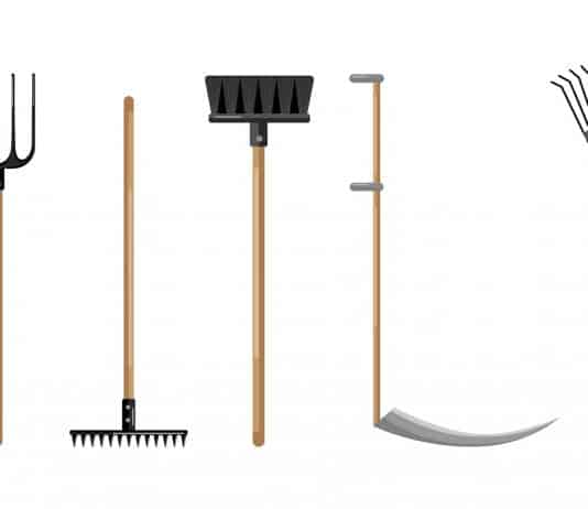 Set agricultural on white backdrop. Shovel, pitchfork, broom, axe, scythe,rake Flat style vector illustration
